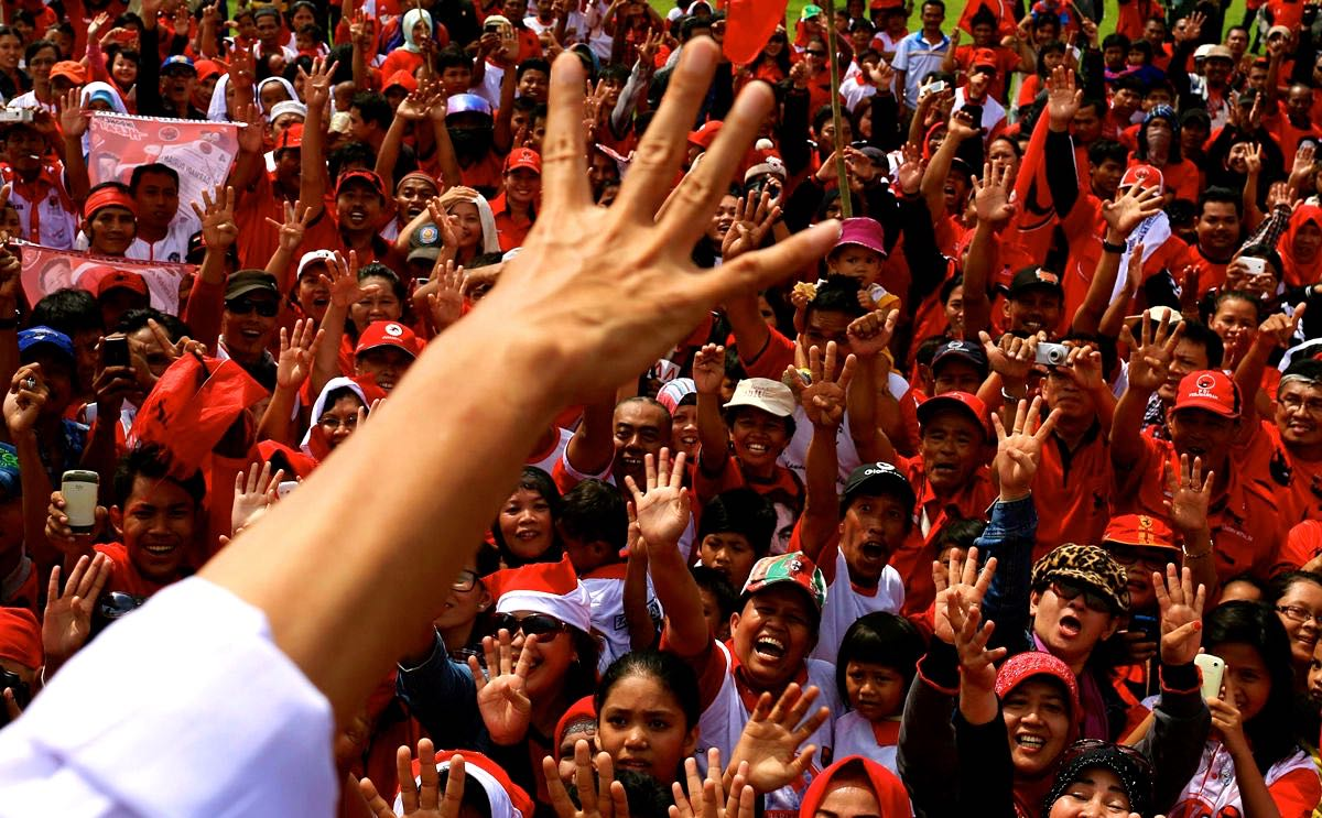 political rally crowd in Indonesia