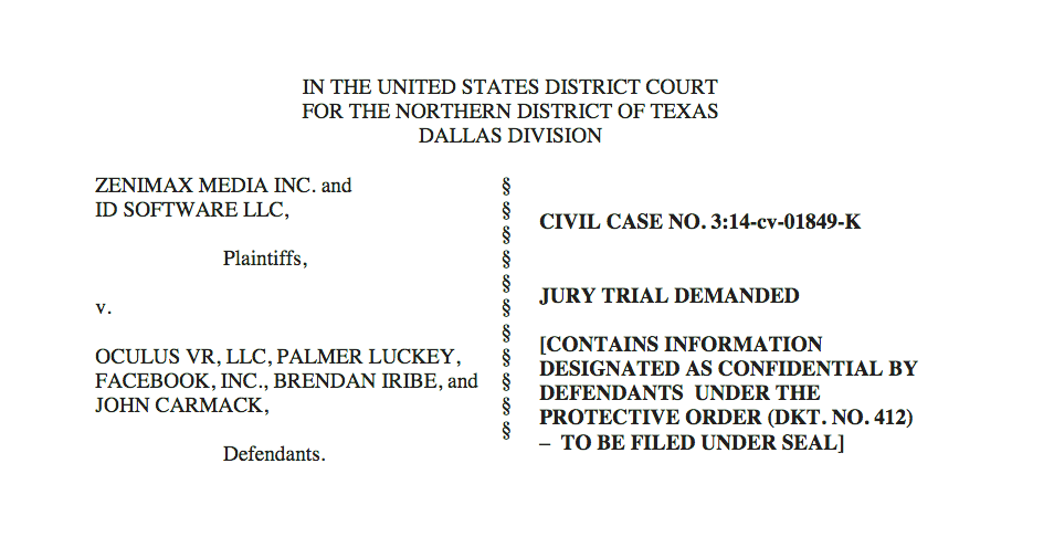 Screen-capture of ZeniMax lawsuit against Oculus.