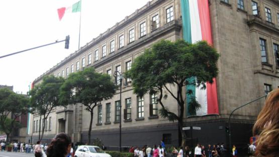 Building with Mexican flag