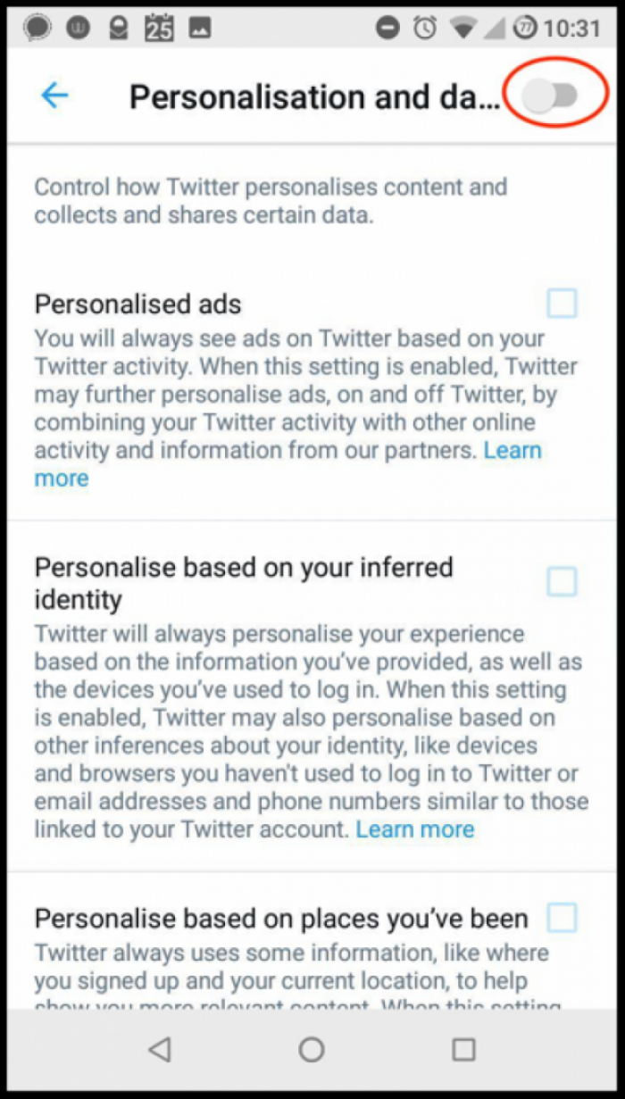 "You can also see and remove the the inferred categories Twitter put you in. To do so, click on ""See your Twitter data in the Privacy and Security screen""."