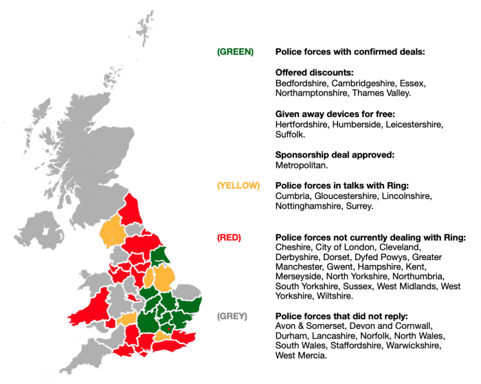 Current partnerships between English and Welsh police forces and Ring. This map was created based on the information gathered through FOI requests by the Sunday Times in 2019.
