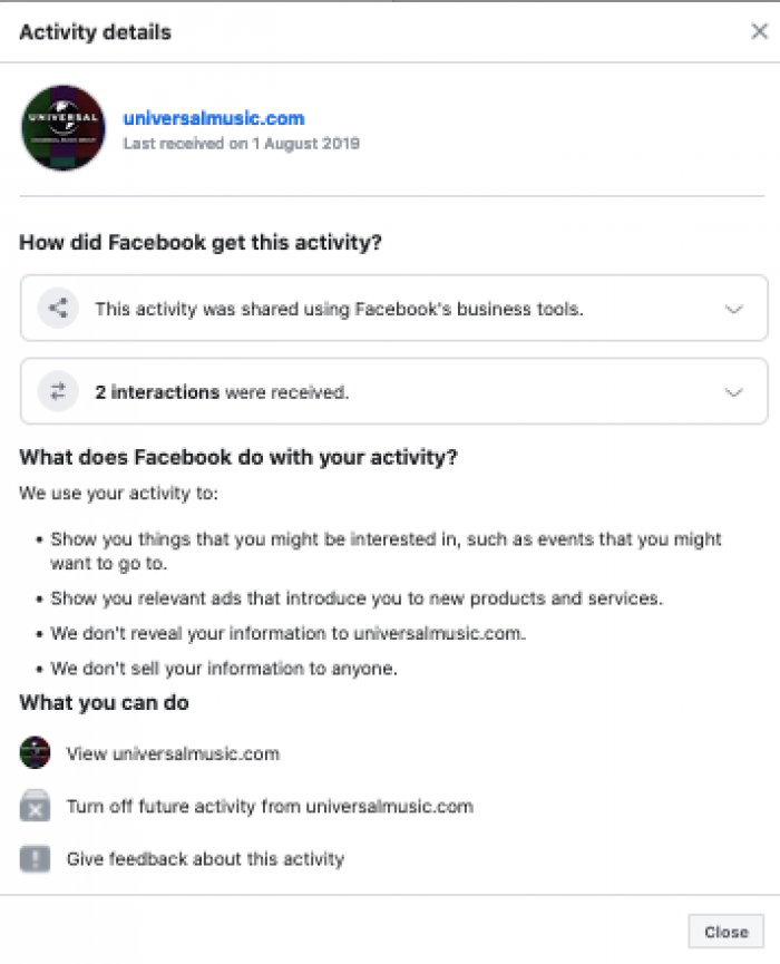 UMG off Facebook activity