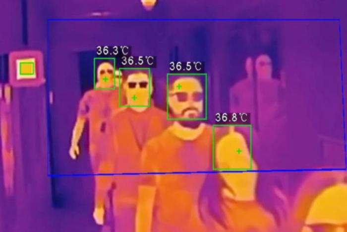 A screenshot of a thermographic camera showing several subjects