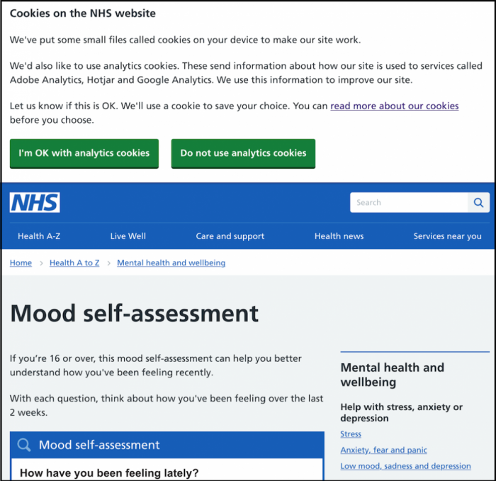A screnshot of the NHS' mood assessment page