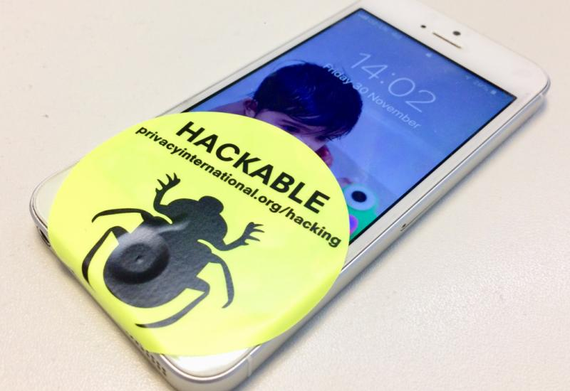 Hackable sticker on phone