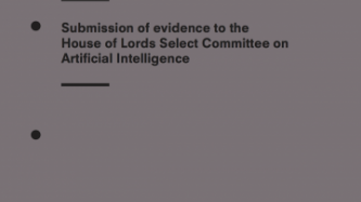 Submission Of Evidence To The House Of Lords Select Committee On Artificial Intelligence