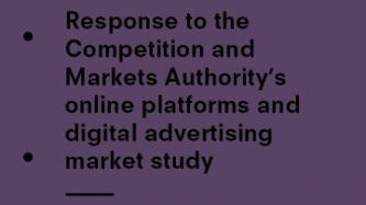 Response to the CMA's online platforms and digital advertising market study