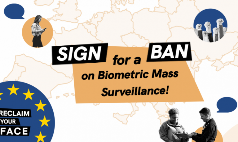 Protest related images collaged on top of an outlined map of europe text reads Sign for a Ban on biometric mass surveillance