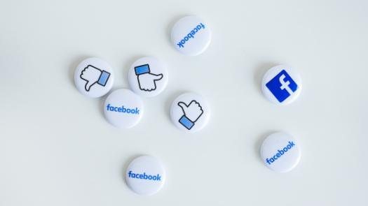 Pins with Facebook logos