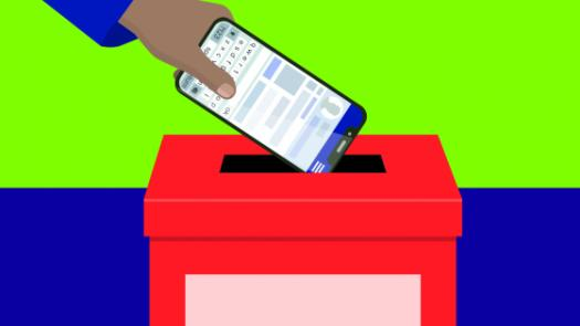 smartfone in ballot box
