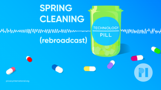 Technology Pill logo in front of an audio waveform. Text reads Spring Cleaning (rebroadcast)