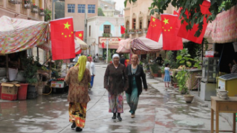 Uighurs walking street
